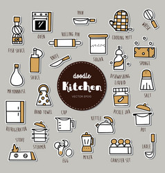 kitchen hand drawn doodle icons set vector image