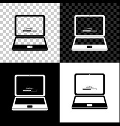 laptop update process with loading bar icon vector image