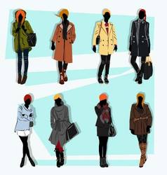 london fashion street model fall vector image