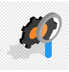 magnifying glass and gears isometric icon vector image