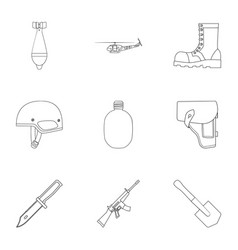 Military and army set icons in outline style big vector