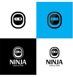 minimal simple ninja logo and icon vector image