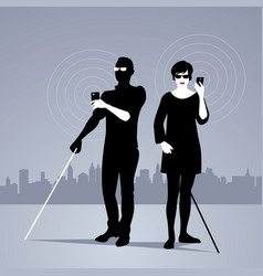 mobile technology for people with visual vector image