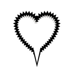 Monochrome silhouette heart shape callout scream vector