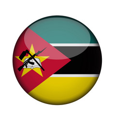 Mozambique flag in glossy round button of icon vector