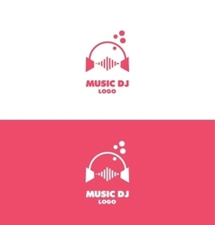 Music dj headphones logo volume vector
