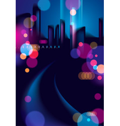 Night city life with street lamps and bokeh vector