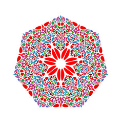 Ornate colorful abstract flower ornament heptagon vector