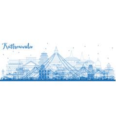 Outline kathmandu nepal skyline with blue vector