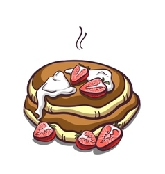 Pancakes Strawberry On White vector image