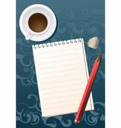 pencil sheet coffee vector image