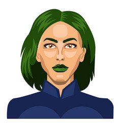 pretty girl with short green hair on white vector image