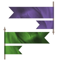Purple and green silk flags vector