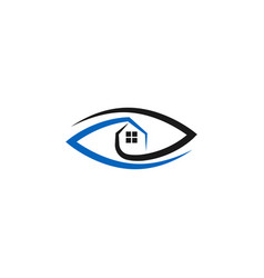 real estate logo concept of eye and house vector image