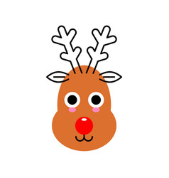 reindeer face isolated on white cute deer animal vector image