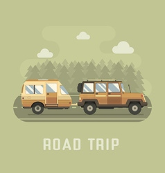 Road Traveler SUV and Camper Trailer Concept vector