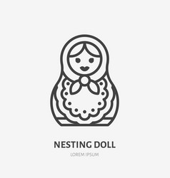 russian nesting doll flat line icon thin vector image