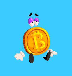 Sad bitcoin character funny crypto currency vector
