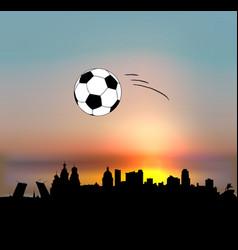 saint petersburg skyline with football ball vector image