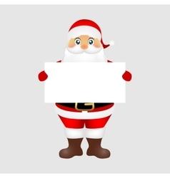 Santa peeping from behind a big white poster vector image