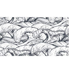 Seamless pattern with hand drawn sea waves vector