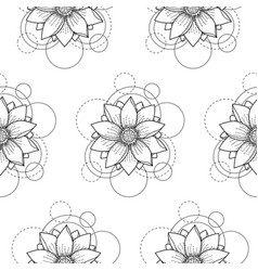 seamless pattern with lotus and circles on white vector image