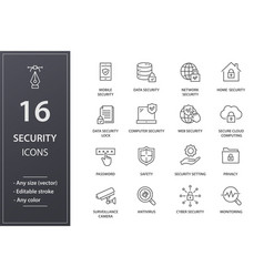 security line icons set black vector image