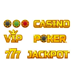 set golden logo jackpot poker 777 casino vector image