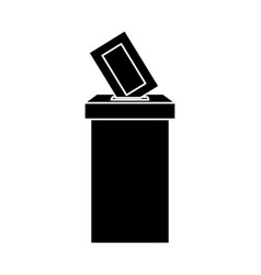 Silhouette ballot box with vote form vector