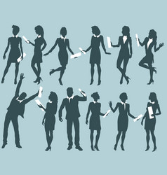 silhouettes of business people with documents vector image