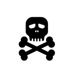 simple black skull bones icon vector image