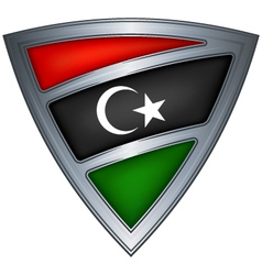 steel shield with flag libya vector image