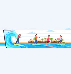 surfers using cellphones surfing on waves men vector image
