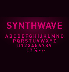 Synthwave pink font in 1980s style retrowave vector