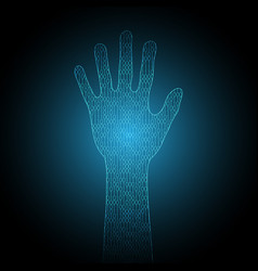 Technology cyber security hand binary vector