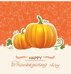 Thanksgiving day card with autumn pumpkins vector