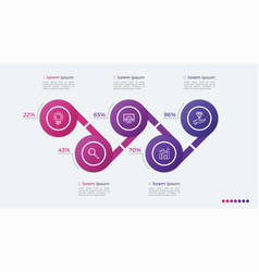 Timeline infographic design with ellipses 5 steps vector