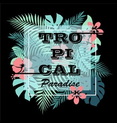 Tropical paradise T-shirt print background vector