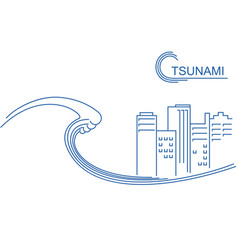 tsunami and big city flat line vector image