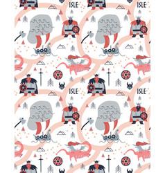 Vikings cartoon style seamless pattern vector