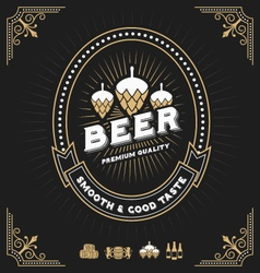Vintage beer and beverage frame design vector image