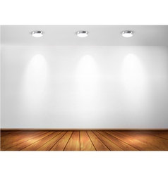 Wall with spotlights and wooden floor Showroom vector image