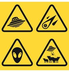 Warning ufo signs vector