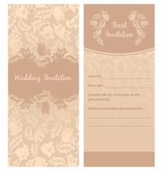 Wedding invitation flowers ornament background vector