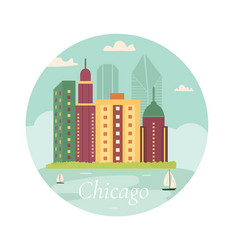 welcome to chicago posterview on lake skyscraper vector image