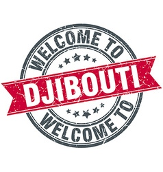 Welcome to Djibouti red round vintage stamp vector