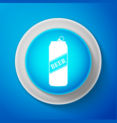 white beer can icon isolated on blue background vector image