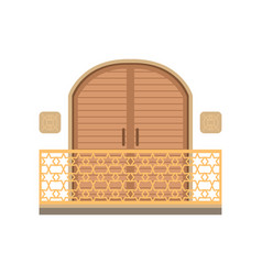 Window with shutter and wrought iron railing vector