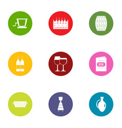 wine list icons set flat style vector image