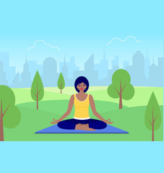 woman meditates sitting on nature vector image